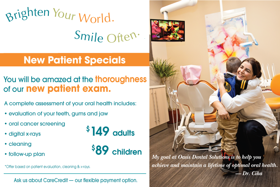 New patient specials from Oasis Dental Solutions